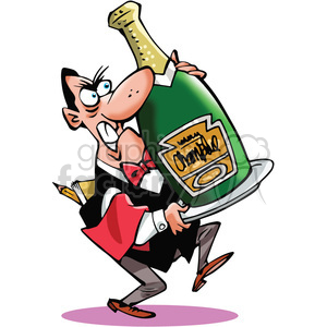 large bottle champagne wine waiter celebration party new+years cartoon eating+out room+service carry heavy big