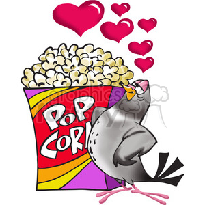 pigeon in love with a box of popcorn clipart. Commercial use image # 388498