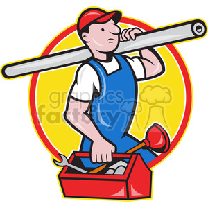 plumber carrying tube and toolbox clipart. Commercial use image # 388628