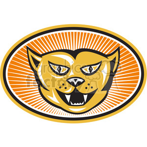 cat head front oval clipart. Royalty-free image # 388658