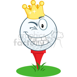 5713 Royalty Free Clip Art Happy Golf Ball Cartoon Character With Gold Crown Winking clipart. Royalty-free image # 388668