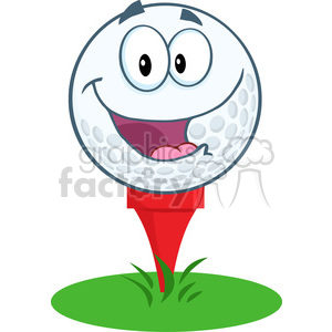 5702 Royalty Free Clip Art Happy Golf Ball Cartoon Mascot Character Over Tee clipart. Commercial use image # 388688