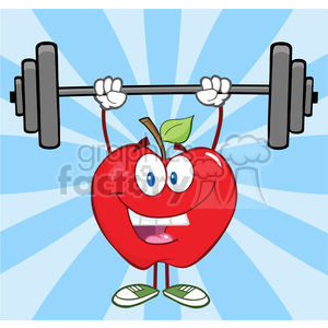 5775 Royalty Free Clip Art Smiling Apple Cartoon Character Lifting Weights clipart. Royalty-free image # 388698