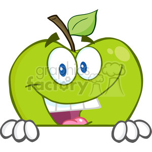 5781 Royalty Free Clip Art Smiling Green Apple Hiding Behind A Sign clipart. Royalty-free image # 388718
