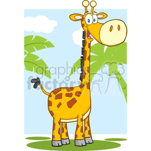 Happy Giraffe Cartoon Mascot Character clipart. Royalty-free image # 388760