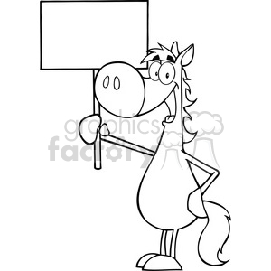 5688 Royalty Free Clip Art Happy Horse Holding Up A Blank Sign clipart. Royalty-free image # 388770