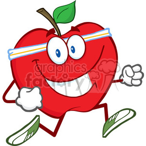 5782 Royalty Free Clip Art Healthy Red Apple Jogging clipart. Royalty-free image # 388780