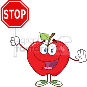 5793 Royalty Free Clip Art Apple Cartoon Mascot Character Holding A Stop Sign clipart. Commercial use image # 388809