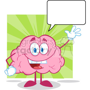 5809 Royalty Free Clip Art Happy Brain Cartoon Character Waving For Greeting With Speech Bubble clipart. Royalty-free image # 388839