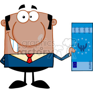 5574 Royalty Free Clip Art Smiling African American Business Man Holding A Euro Bill clipart. Commercial use image # 388848