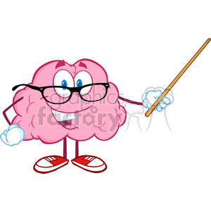 5811 Royalty Free Clip Art Smiling Brain Teacher Cartoon Character Holding A Pointer clipart. Commercial use image # 388860