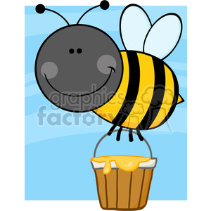 5605 Royalty Free Clip Art Smiling Bee Flying With A Honey Bucket clipart. Royalty-free image # 388880