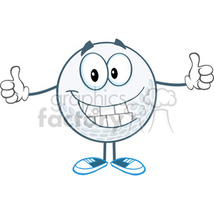 5739 Royalty Free Clip Art Smiling Golf Ball Cartoon Character Giving A Thumb Up clipart. Royalty-free image # 388890