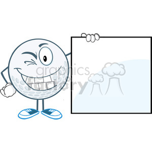 5731 Royalty Free Clip Art Winking Golf Ball With Showing A Sign clipart. Royalty-free image # 388900