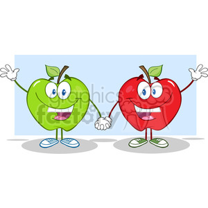 5756 Royalty Free Clip Art Smiling Red And Green Apples Waving For Greeting clipart. Commercial use image # 388910