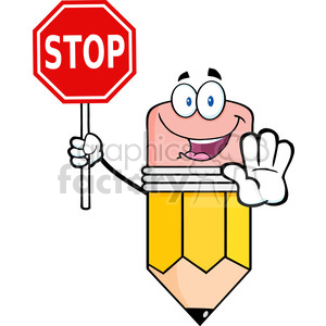 5896 Royalty Free Clip Art Happy Pencil Character Holding A Stop Sign clipart. Royalty-free image # 388940