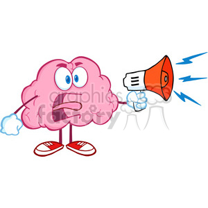 5848 Royalty Free Clip Art Angry Brain Cartoon Character Screaming Into Megaphone clipart. Royalty-free image # 388960