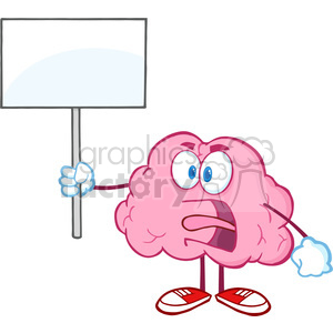 5857 Royalty Free Clip Art Angry Brain Cartoon Character Screaming And Holding Up A Blank Sign clipart. Commercial use image # 388980
