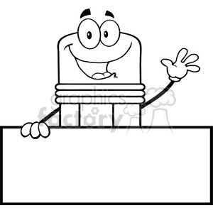5873 Royalty Free Clip Art Happy Pencil Character Waving For Greeting Over Blank Sign clipart. Royalty-free image # 389040