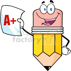 5918 Royalty Free Clip Art Smiling Pencil Holding An A Plus Report Card clipart. Royalty-free image # 389060