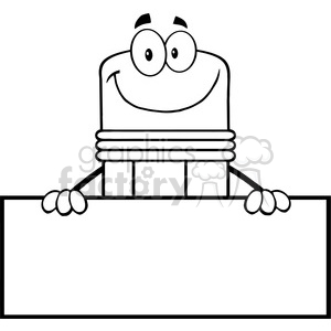 5876 Royalty Free Clip Art Smiling Pencil Cartoon Character Over Blank Sign clipart. Royalty-free image # 389070