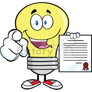 6076 Royalty Free Clip Art Light Bulb Pointing With Finger And Holding A Contract clipart. Commercial use image # 389080