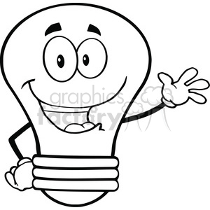 6099 Royalty Free Clip Art Light Bulb Cartoon Mascot Character Waving For Greeting clipart. Commercial use image # 389100