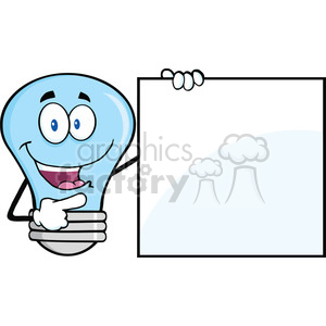 6107 Royalty Free Clip Art Blue Light Bulb Cartoon Mascot Character Showing A Blank Sign clipart. Commercial use image # 389140