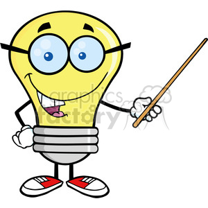 6094 Royalty Free Clip Art Light Bulb Character With Glasses Holding A Pointer clipart. Commercial use image # 389160