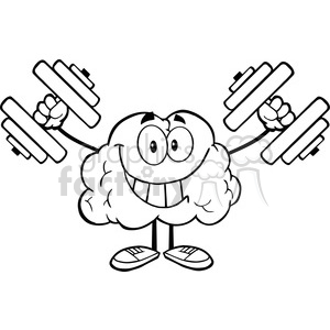 5986 Royalty Free Clip Art Smiling Brain Cartoon Character Training With Dumbbells clipart. Commercial use image # 389180