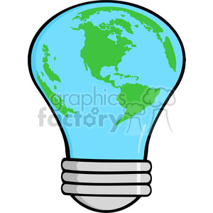 6005 Royalty Free Clip Art Cartoon Light Bulb Earth clipart. Royalty-free image # 389210