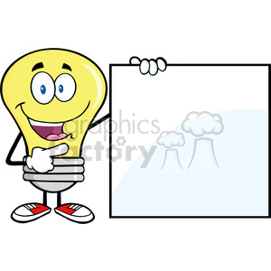 6016 Royalty Free Clip Art Happy Light Bulb Cartoon Mascot Character Showing A Blank Sign clipart. Royalty-free image # 389230