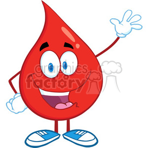 6170 Royalty Free Clip Art Red Blood Drop Cartoon Mascot Character Waving For Greeting animation. Royalty-free animation # 389250