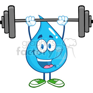 6211 Royalty Free Clip Art Water Drop Cartoon Mascot Character Lifting Weights clipart. Royalty-free image # 389260