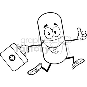 6295 Royalty Free Clip Art Black and White Pill Capsule Cartoon Mascot Character Running With A Medicine Bag clipart. Royalty-free image # 389270