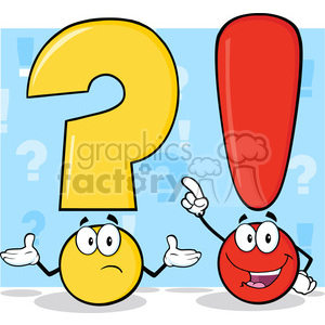 6290 Royalty Free Clip Art Question Mark And Exclamation Mark Cartoon Characters clipart. Royalty-free image # 389280