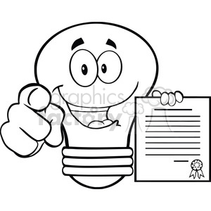 6153 Royalty Free Clip Art Light Bulb Pointing With Finger And Holding A Contract clipart. Royalty-free image # 389310