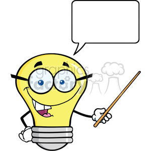 6167 Royalty Free Clip Art Smiling Light Bulb Character With A Pointer And Speech Bubble clipart. Royalty-free image # 389330