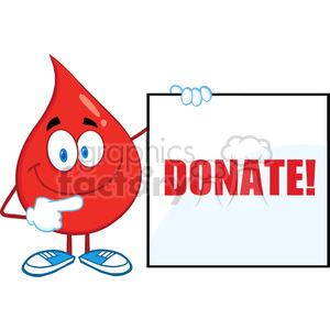 6178 Royalty Free Clip Art Red Blood Drop Cartoon Character Showing A Blank Sign With Text clipart. Royalty-free image # 389340