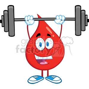 6173 Royalty Free Clip Art Red Blood Drop Cartoon Character Lifting Weights clipart. Commercial use image # 389360