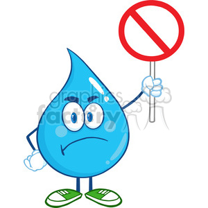 6209 Royalty Free Clip Art Angry Water Drop Cartoon Mascot Character Holding up A Forbidden Sign clipart. Royalty-free image # 389390