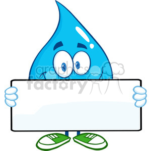 6208 Royalty Free Clip Art Water Drop Cartoon Mascot Character Holding A Banner clipart. Royalty-free image # 389400