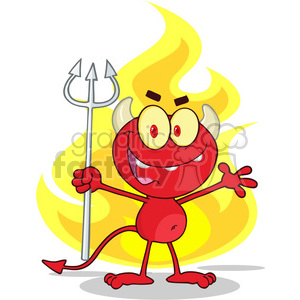 6824 Royalty Free Clip Art Cute Little Red Devil With A Pitchfork In Front Fire clipart. Royalty-free image # 389430