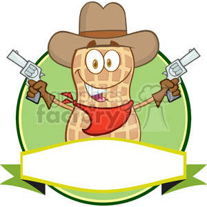 6804 Royalty Free Clip Art Peanut Cowboy Cartoon Mascot Label clipart. Royalty-free image # 389453