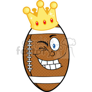 6569 Royalty Free Clip Art Happy American Football Ball Cartoon Character With Gold Crown Winking clipart. Royalty-free image # 389465