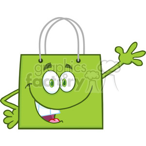6725 Royalty Free Clip Art Smiling Green Shopping Bag Cartoon Mascot Character Waving For Greeting clipart. Royalty-free image # 389475