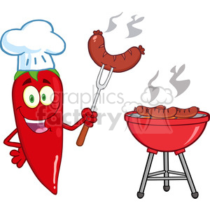 6790 Royalty Free Clip Art Cute Red Chili Pepper Chef With Sausage On Fork Cook At Barbecue clipart. Royalty-free image # 389485