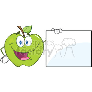 6520 Royalty Free Clip Art Happy Green Apple Cartoon Character Showing A Blank Sign