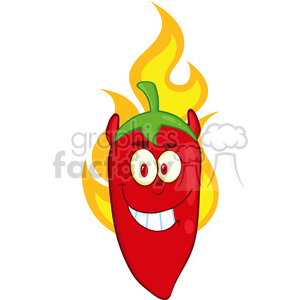 6772 Royalty Free Clip Art Red Chili Pepper Devil Cartoon Mascot Character On Fire clipart. Commercial use image # 389525