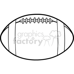 6555 Royalty Free Clip Art Black and White American Football Ball Cartoon Illustration clipart. Commercial use image # 389535